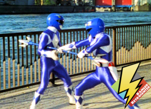 Blue Rangers fighting with the Power Lance