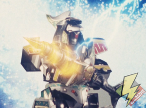 Dragonzord Fighting Mode charging the staff attack