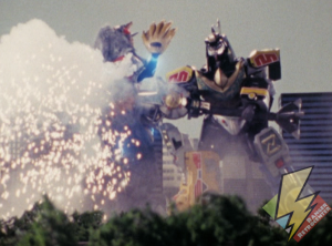 Dragonzord Fighting Mode staff attack