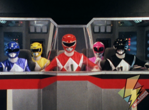 Five Rangers in the cockpit