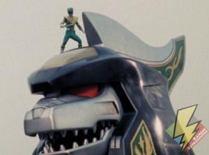 Green Ranger atop the Dragonzord