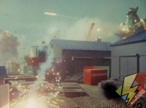 Dragonzord missiles fly across the sky