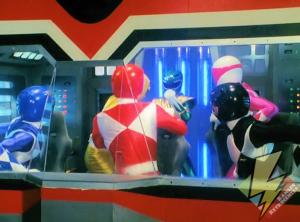 Green Ranger enters the Megazord cockpit