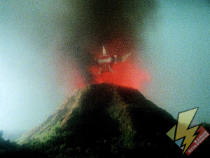Pterodactyl emerges from the volcano