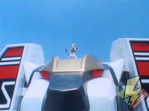 White Ranger atop the Tigerzord