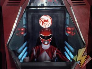 Red Ranger in the Tyrannosaurus