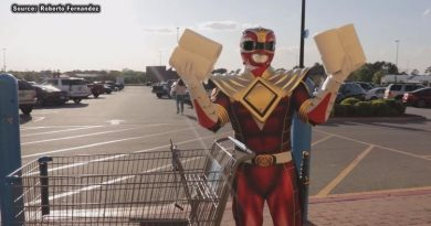 Power Ranger gives out toilet paper and cash at GA Walmart