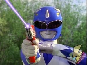 Blue Ranger fires his Blade Blaster