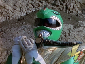 Weakened Green Ranger and the curved dagger