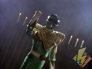 The Green Ranger receives the Dragon Shield
