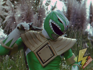 The coma Green Ranger fights Tommy
