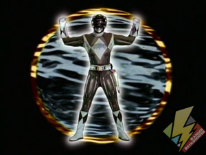 Black Ranger activating Metallic Armor