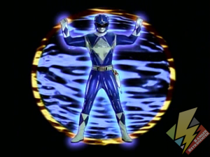Blue Ranger activating Metallic Armor