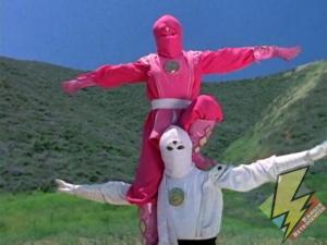 Pink and White Ninja Rangers summon laser power