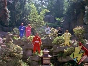 The Ninja Rangers view their Zords