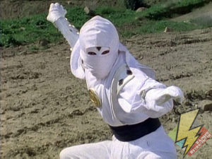 The White Ninja Ranger with concealed face